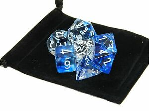 New Chessex Polyhedral Dice with Bag Dark Blue Nebula 7 Piece Set DnD RPG