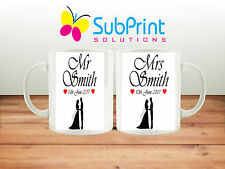 Set of Two-Personalised Mr & Mrs Wedding Day Coffee/tea Gift Mug set