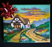 Painting gift Cottage in the country original artist acrylic on canvas
