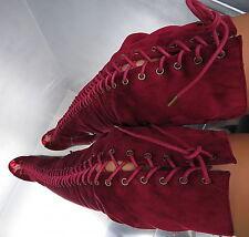 Hohe Overknee Lang Stiefel 1 cm Plateau Damen Boots N49 Schuhe High Heels 36
