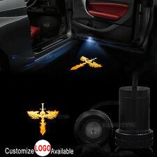 2x Flaming Winged Skull Logo Car Door LED Laser Projector Ghost Shadow Light
