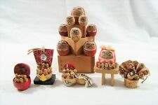 New ListingLot of 6 Japanese Wooden Kokeshi Daruma Dolls Figures Miniature Collectibles