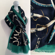 Ladies Large Navy Turquoise Scarf with Chain Print Straps Horse Buckle Shawl Big