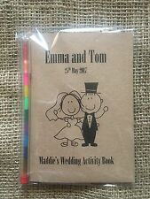 Childrens, Kids Brown Personalised A6 Wedding Activity Pack, Favour, with pencil