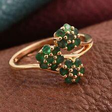 Pretty Zambian Emerald Triple Flower Cluster 14K Y Gold/925 Ring Size R