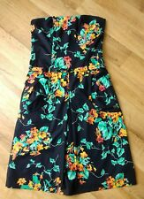 TED BAKER BLACK GREEN ORANGE FLORAL STRAPLESS BANDEAU DRESS SIZE 3 UK 12