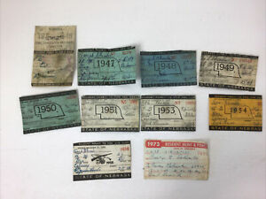 ANTIQUE NEBRASKA HUNTING AND FISHING LICENSE LOT Of 10, 1946 - 1973 Some Missing