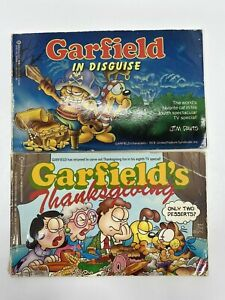 Lot of 2 Vintage Soft Covered Book Garfield in Disguise Garfield's Thanksgiving