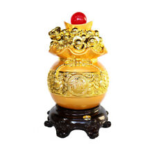 Feng Shui Golden Money Bag Full of Coins and Ingots with Ru Yi