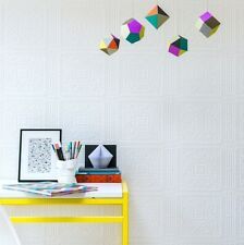 Anaglypta Turner White Paintable Wallpaper - Embossed Tile Effect Design - 10m