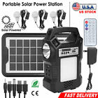 Solar Panel Power Generator Kit Portable Power Station Battery Pack with 3 Bulbs