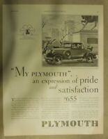 Chrysler Plymouth Car Ad: My Plymouth ! Size:11 x 15 Inches From: 1930