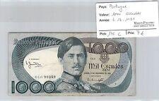 PORTUGAL - BILLET DE 1000 ESCUDOS 3-12-1981**