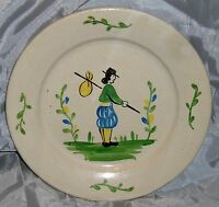 FRENCH FAIENCE BRETON MAN PLATE