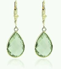 14k Yellow Gold Earrings With Green Amethyst Stone