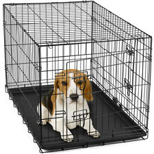 "30"" Dog Crate Folding Wire Metal Cage  Kennel With Tray Pan and  Divider"