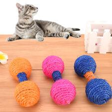 Pet Cat Kitten Sisal Rope Scratch BallTeaser Dumbbell Catch Training Chew ToyHGU