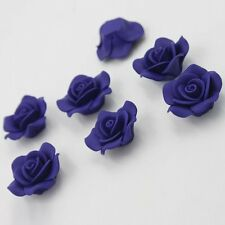 10pcs Hotsale Blue Charms Rose Flower FIMO Polymer Clay Spacer Beads Flatback J