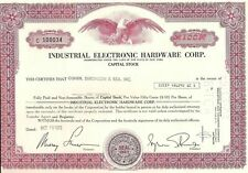 Vintage stock certificate Industrial Electronic Hardware Corporation New York