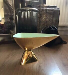 Unique Brass Triangular Tray Bowl Decorative Object 26x16cm Mid Century Retro
