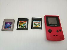 Nintendo Game Boy Color GBC - Berry Pink w/ Frogger, Tetris, & Monopoly. TESTED