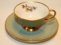 Flintridge China Avalon Sage Green Gold Trim Cups & Saucers