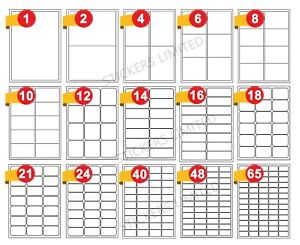 Address Labels A4 White Sheets Sticky Self Adhesive for Inkjet / Laser Printer