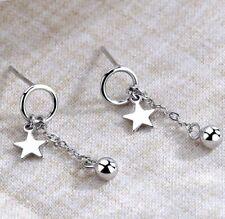 Women Star Bead Ball Chain Drop Stud Earrings 925 Sterling Silver Jewellery Gift