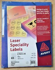 Avery Laser Speciality Labels L7651, Mini Address Labels, New Sealed, Dated 2001