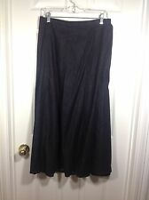 Denim & Co SIZE Medium Long Black Lightweight Cotton Denim Skirt Back Elastic
