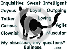 Balinese Cat My Obsession, Any Questions? T-shirt Choice size color