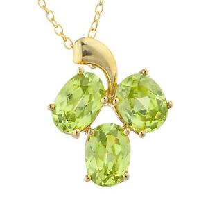 14Kt Yellow Gold Plated Peridot Oval Design Pendant