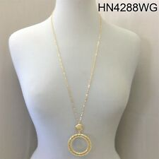 Bohemian Style Long Chain Gold Finish Round Ring  Filigree Cut Pendant Necklace