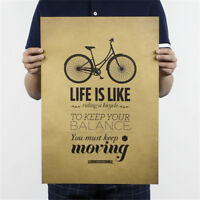 life is like riding a bicycle poster cafe bar decor  kraft paper wall sticker JB