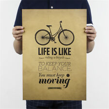 life is like riding a bicycle poster cafe bar decor  kraft paper wall sticker HF