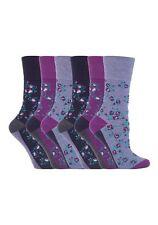 6 Prs Ladies Sockshop Cotton Gentle Grip Socks 4-8uk 37-42eur Floral Purple RH57