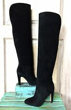NIB Anthropologie Candela black Suede Pull On Over The Knee Heel Tall Boots 7