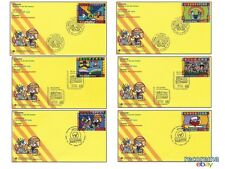 UNITED NATIONS EDUCATION BY ROMERO BRITTO: SET OF 6 FDC GENEVA,VIENNA,N.Y MINT