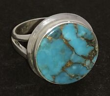 Mohave turquoise solid Sterling Silver ring, UK size P, round, new, actual one.