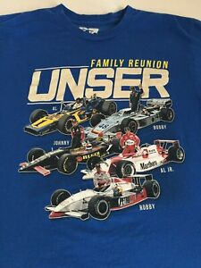 UNSER FAMILY REUNION INDY CAR DRIVER T-SHIRT MEDIUM BLUE