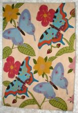 "Butterfly Crewel Rug * Wall Hanging 100% Wool Embroidered 24.5"" x 35"" FABULOUS!"