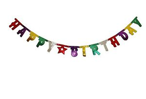 Happy Birthday Foil Banner Bunting Room Size 2.73m Large Letter Party Decoration
