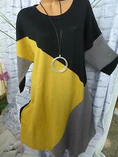Sheego Kleid Strickkleid Damen Gr. 44 bis 58 schwarz gelb (112) NEU