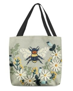 Flower Bee Canvas Tote Bag, Bee Shoulder Bag For Women, Mother Day Gifts