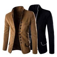 Men Fashion Casual Slim Stand Collar Blazer Coat Suit Button Jacket Overcoat Top