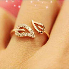 2Pcs Women's Fashion Gold Plated Double Leaves Crystal Elegant Ring Jewelry