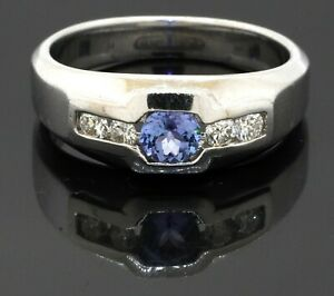 Heavy 14K white gold 0.82CT diamond & tanzanite band ring size 9