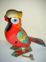 JUMPING PARROT Tin Litho Wind Up Bird Toy