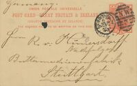 "GB 1893 QV 1d orangered VFU pc Duplex-cancel ""LONDON-N.W / N.W / 3"" +""STUTTGART"""