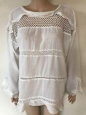 New ISABEL MARANT Etoile White Crochet Lace Ruffle Cadix Blouse Top Size 42